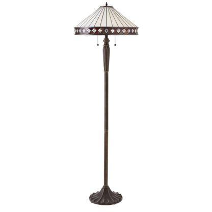 brązowa lampa podłogowa z pastelowym abażurem