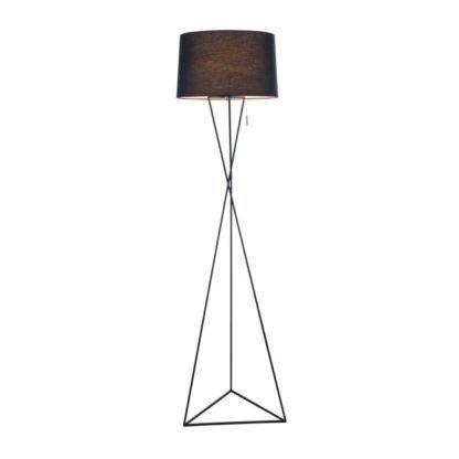 Lampa podłogowa w kolorze czarnym o oryginalnej podstawie w kształcie trójnoga