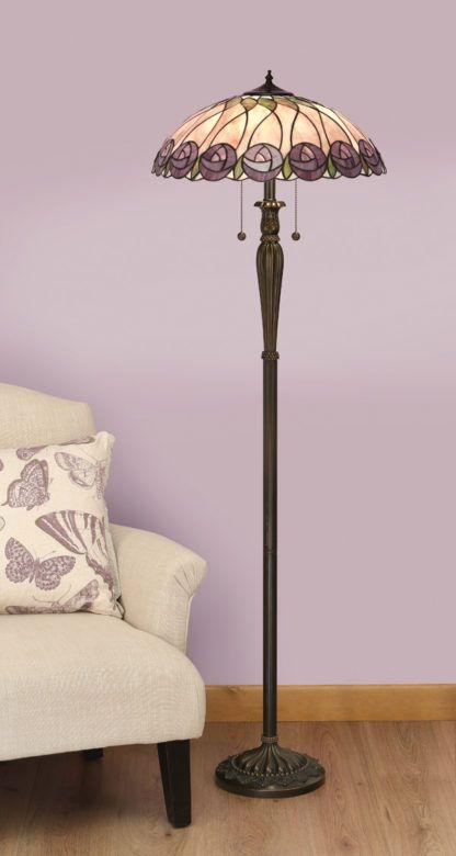 aranżacja - lampa podłogowa ze szkła Tiffany