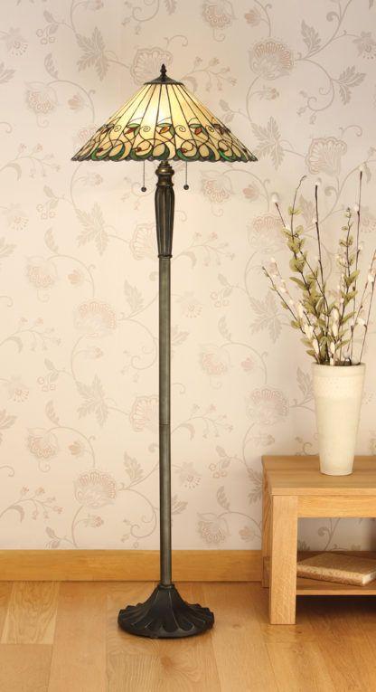 Brązowa lampa podłogowa z kolorowym witrażowym kloszem