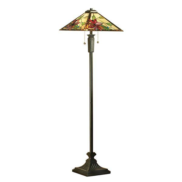 klasyczna lampa podłogowa z 2 włącznikami i szklanym kloszem