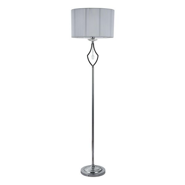 lampa podłogowa z kloszem chromowana z kryształem