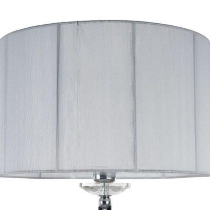 srebrna lampa podłogowa z białym abażurem nowoczesna