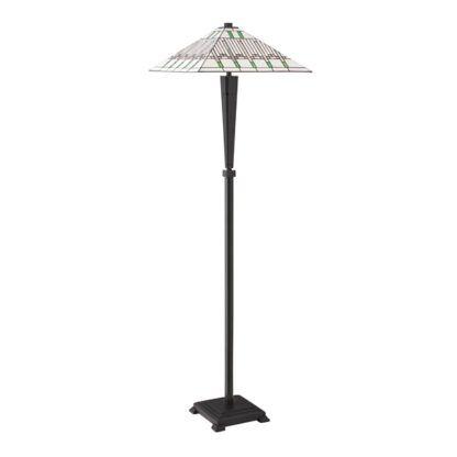 brązowa lampa podłogowa o masywnej podstawie i szklanym kloszu