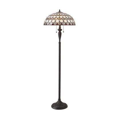 Witrażowa lampa podłogowa Missori - Interiors - brązowa