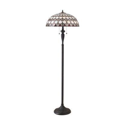 klasyczna lampa podłogowa z kloszem witrażowym Tiffany