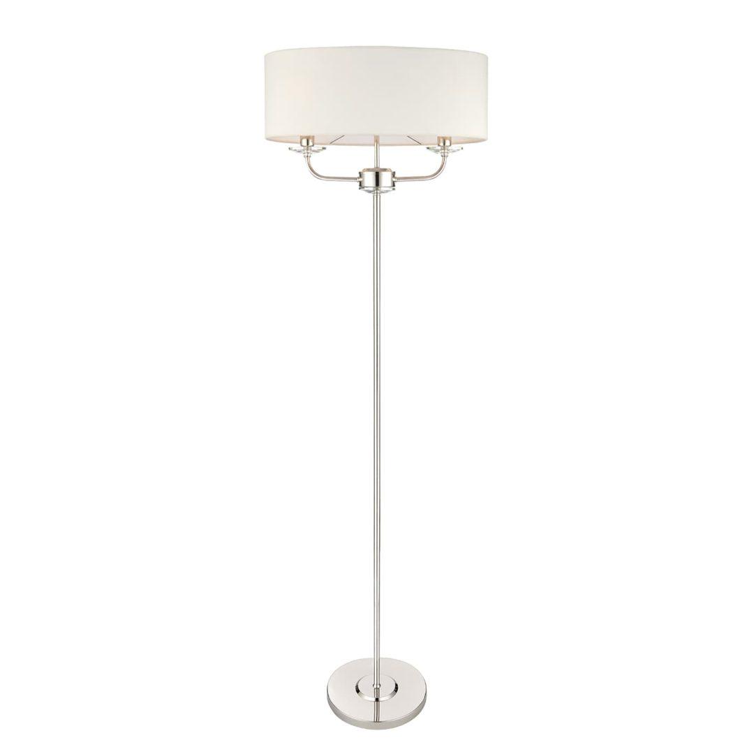 Lampa podłogowa Nixon - Endon Lighting - srebrna, biała