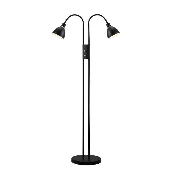 czarna lampa podłogowa z dwoma kloszami, styl nowoczesny
