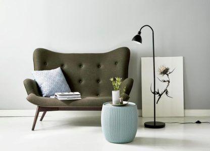 aranżacja - nowoczesna lampa podłogowa w kolorze czarnym
