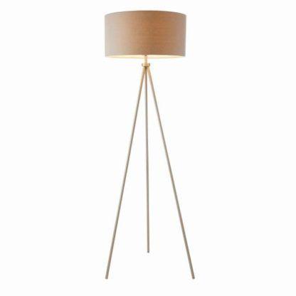 wysoka lampa podłogowa na trójnogu, klasyczny, materiałowy abażur w jasnym odcieniu