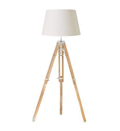 Lampa podłogowa - Tripod - Endon Lighting - drewniana, jasna