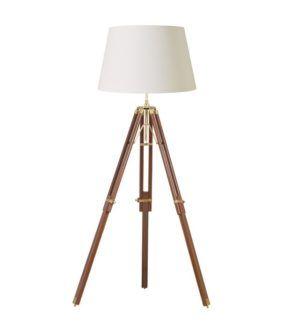 Lampa podłogowa - Tripod - Endon Lighting - drewniana, ciemna