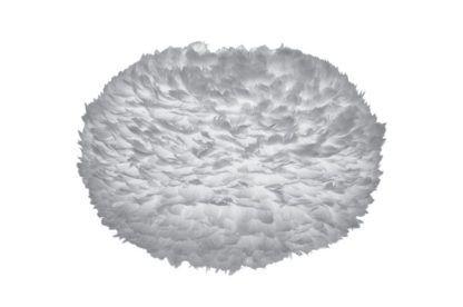 duży klosz wykonany z naturalnych, gęsich piór barwionych na szaro