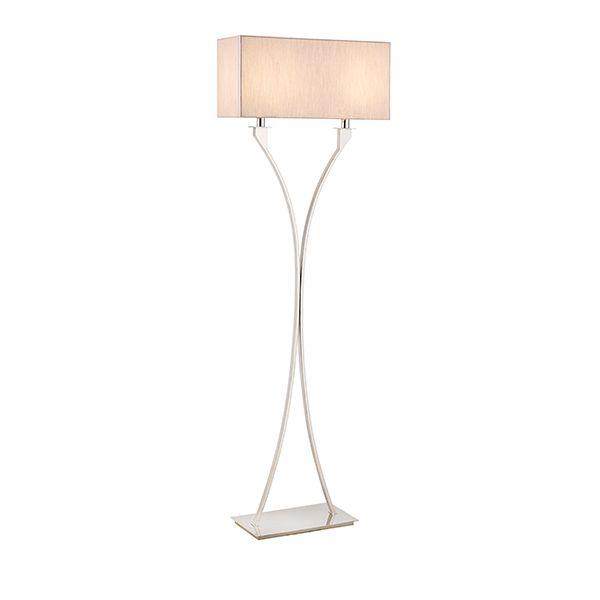 Lampa podłogowa Vienna - Interiors - srebrna, tkanina
