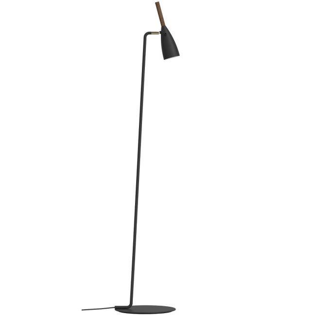 czarna, matowa lampa podłogowa na prostej podstawie z niewielkim kloszem skierowanym na dół