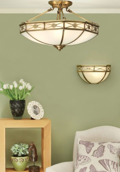 Lampa ścienna Bannerman - Interiors - mosiądz, matowe szkło