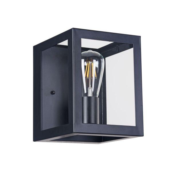 kinkiet sześcian szklany z żarówką edissona