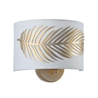 Lampa ścienna Farn - Maytoni - biała, złota ze zdobieniem w kształcie liścia