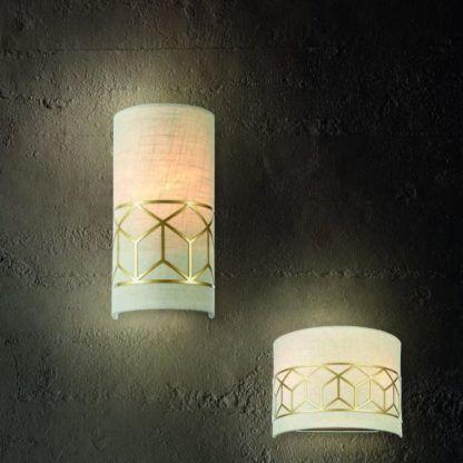 Lampa ścienna Messina - Maytoni - 2 żarówki - złota, beżowa