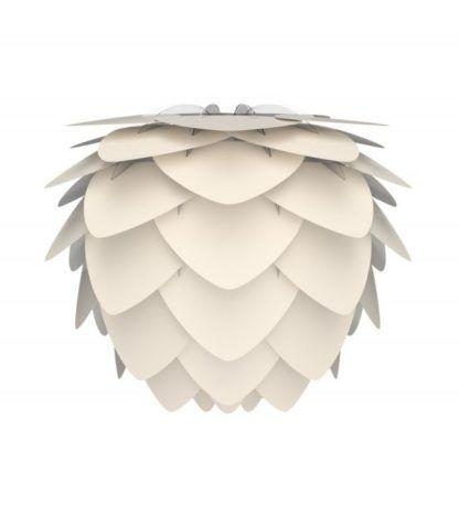 lampa z kloszem w kształcie szyszki, perłowa biel płatków
