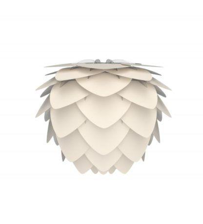 lampa w kolorze perłowej bieli, klosz nowoczesny inspirowany kształtem szyszki