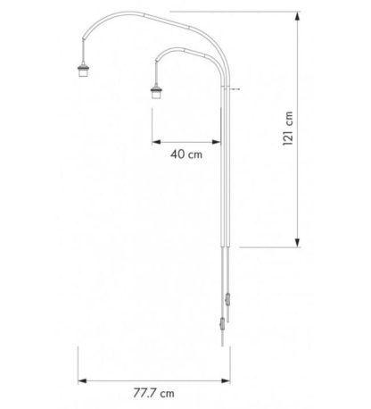 lampa ścienna mocowana do ściany z dwoma kloszami na różnych wysokościach