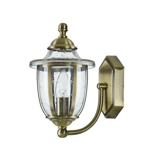 szklany kinkiet ze złotym zdobieniem
