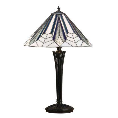 lampa stołowa z białym witrażowym kloszem