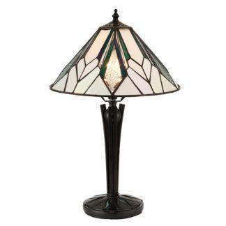 Lampa stołowa Astoria - Interiors - mała - szklana, czarna podstawa