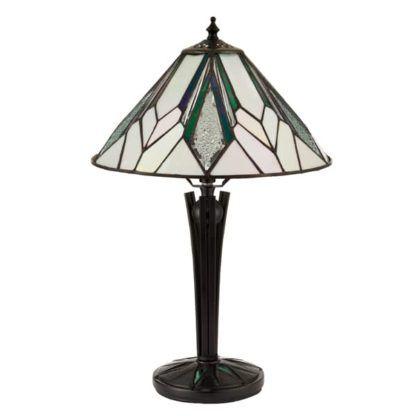 lampa stołowa w kolorach bieli i brązu ze szkła Tiffany
