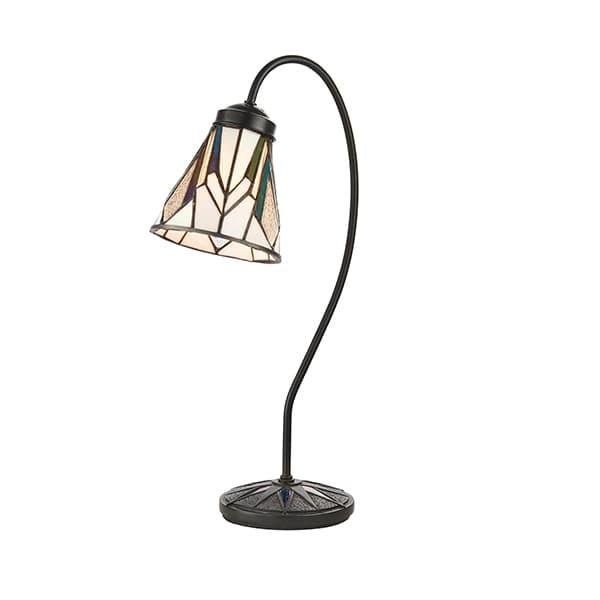 mała lampa stołowa z białym szklanym kloszem