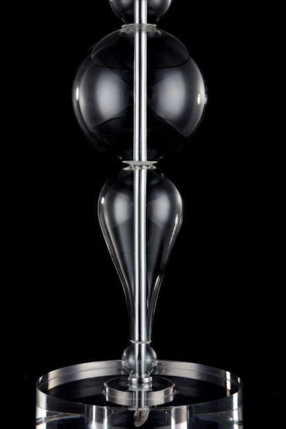 lampa stołowa szklana z chromowanymi elementami