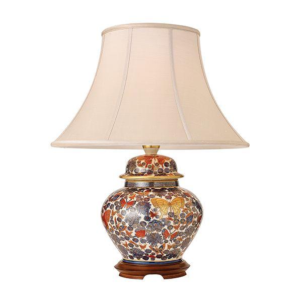 ceramiczna lampa stołowa w ręcznie malowane kwiaty i motyle