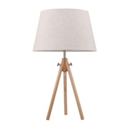 Lampa stołowa Calvin - Maytoni - tripod, beż