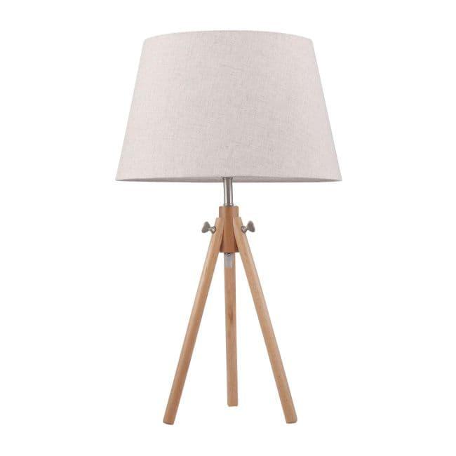 trójnóg stołowy na drewnianej podstawie zakończonej klasycznym jasnym abażurem