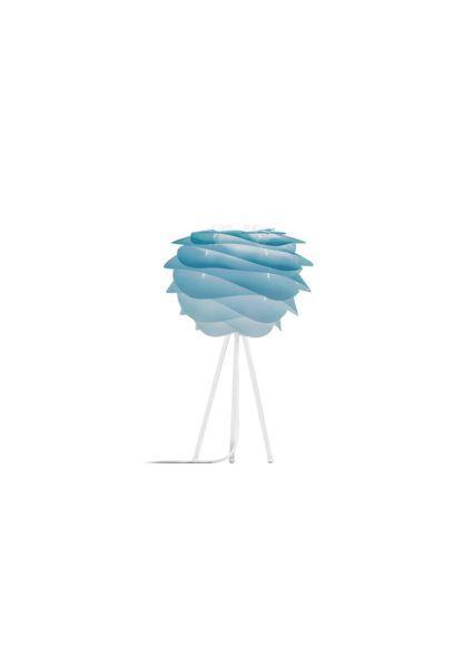 pastelowa lampa stołowa, biała podstawa i nowoczesny klosz w błękitnym ombre
