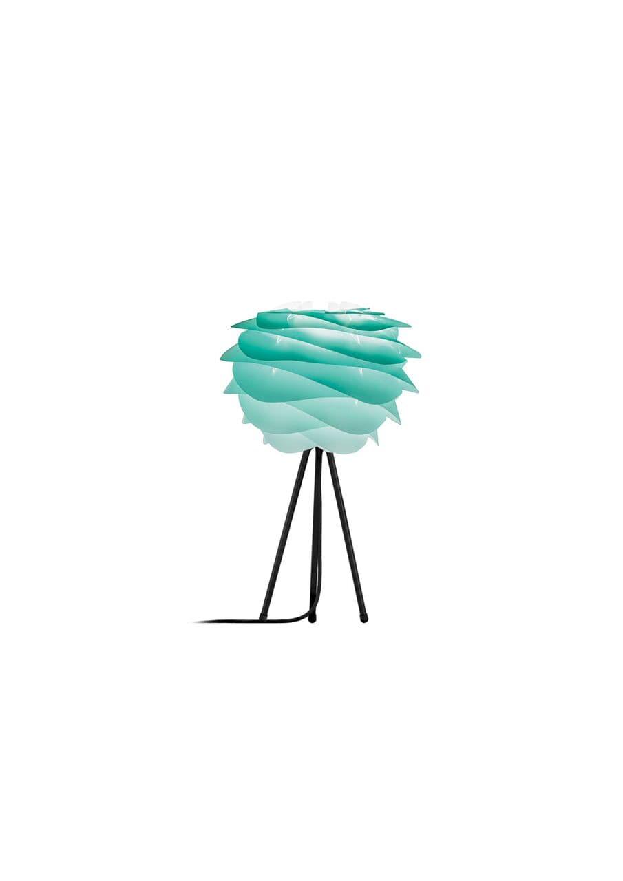 nowoczesna lampa stołowa na białym tripodzie, turkusowy klosz w nowoczesnym stylu z zamkniętą żarówką