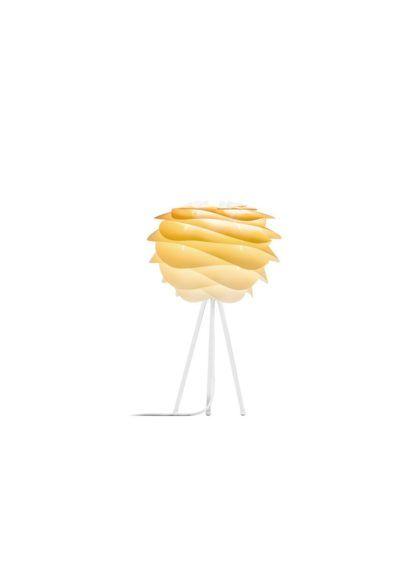 lampa stołowa biało-żółta, biała podstawa tripod i żółty klosz