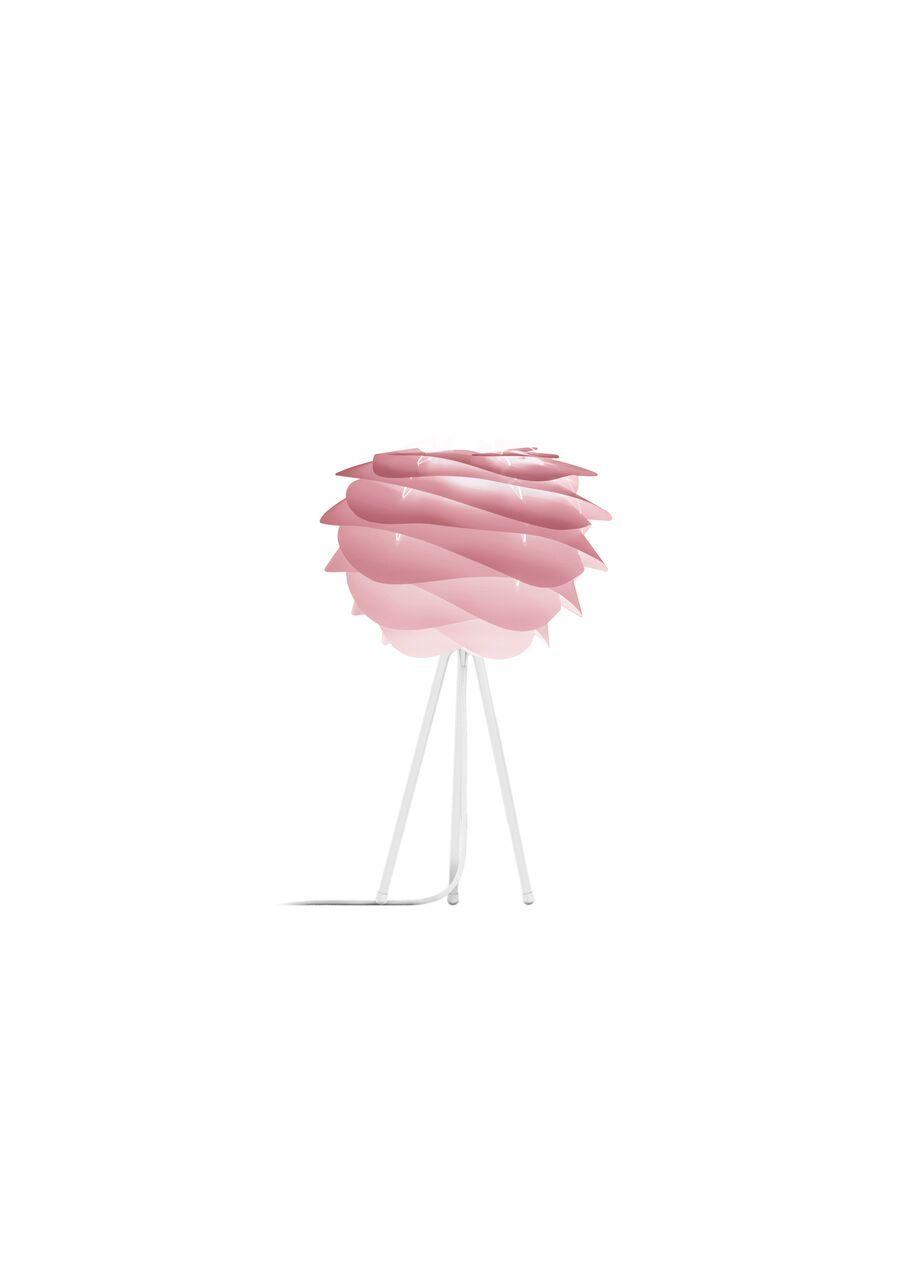 lampa stołowa na czarnym trójnogu, klosz nowoczesny pastelowy róż