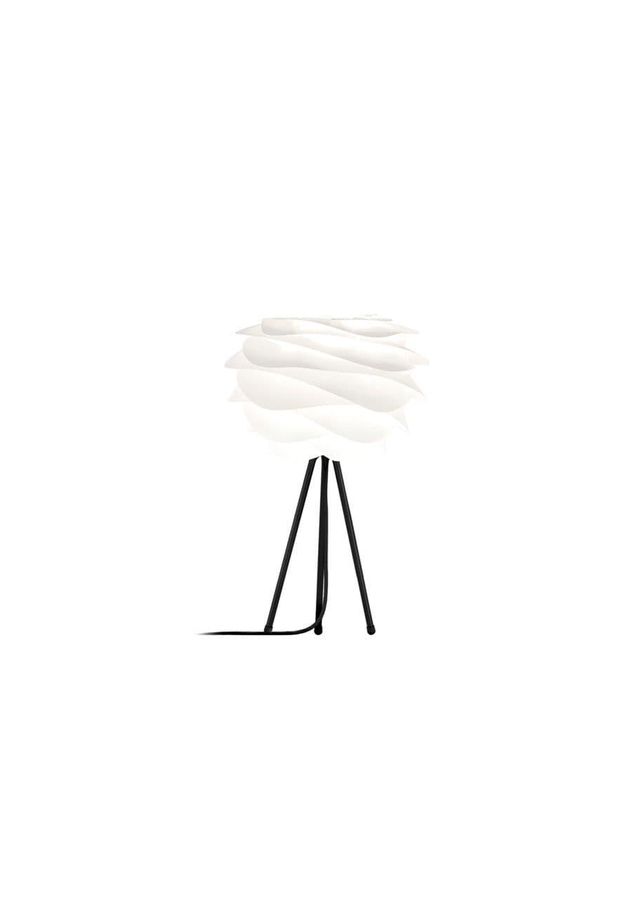 biała lampa stołowa z tripodem i kloszem w nowoczesnym stylu