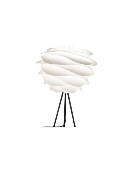 nowoczesna lampa stołowa black&white, czarny tripod, biały klosz inspirowany falami