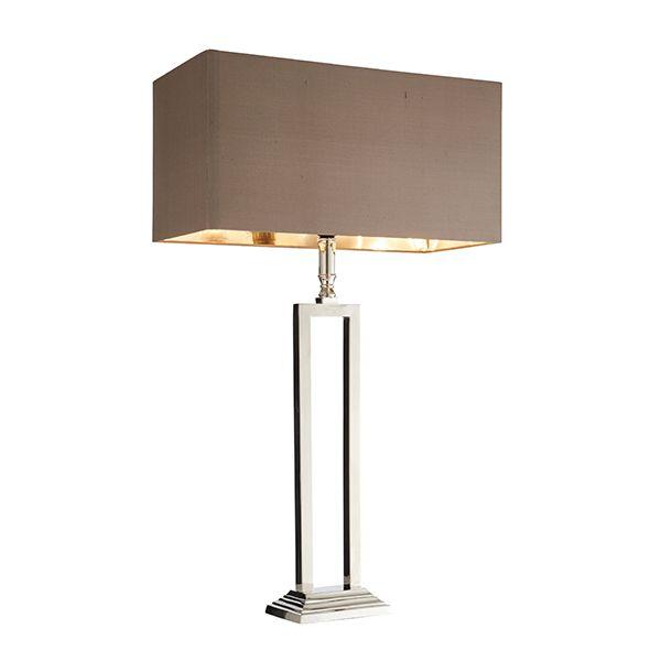lampa stołowa srebrna z prostokątną podstawą