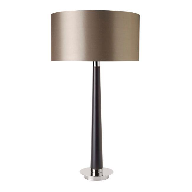beżowy klosz satynowy, lampa stołowa w stylu modern classic