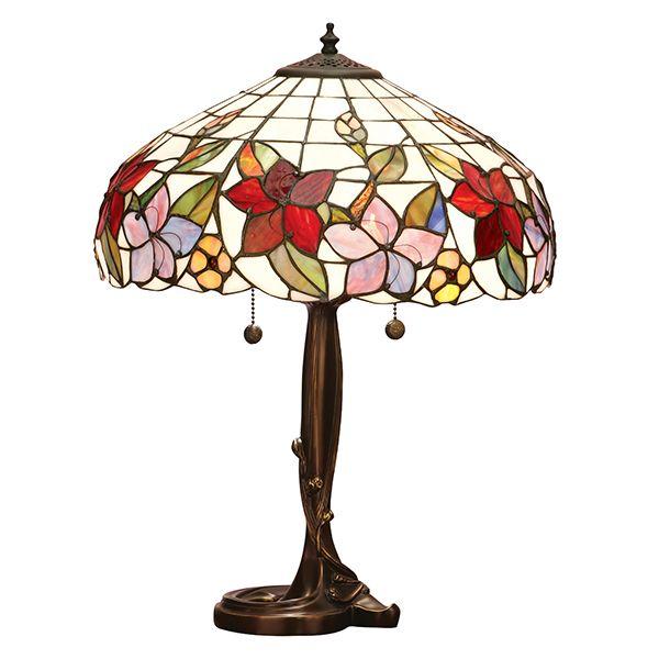mała lampa stołowa ze zdobiona brązową podstawą