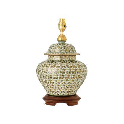 ceramiczna lampa stołowa z ręcznie malowanymi kwiatami