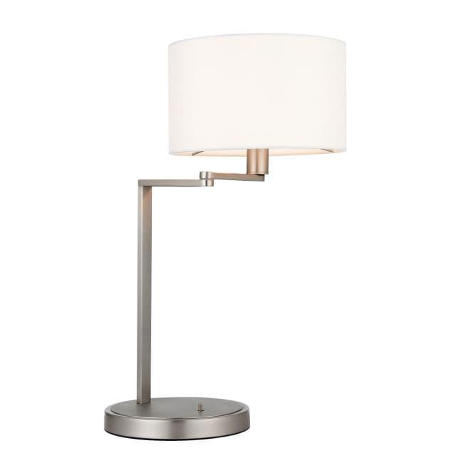 srebrna lampa stołowa z ruchomym ramieniem i zintegrowanym włącznikiem