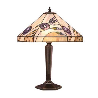 Lampa stołowa Damselfly - Interiors - szklana, brązowa podstawa