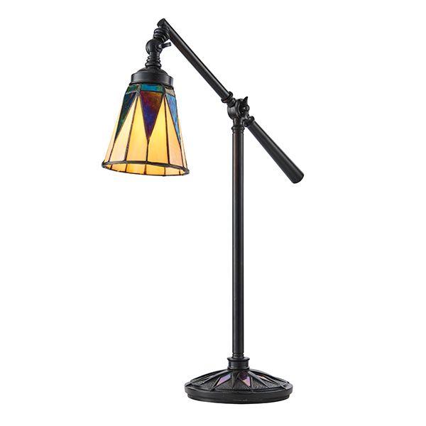 ciemna lampa stołowa ze szklanym beżowym kloszem