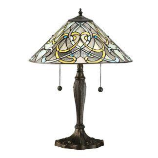 Lampa stołowa Dauphine - Interiors - szkło, brązowa podstawa