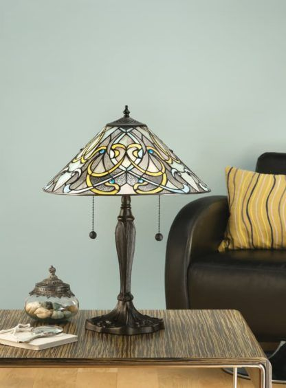 szklana lampa stołowa z 2 włącznikami